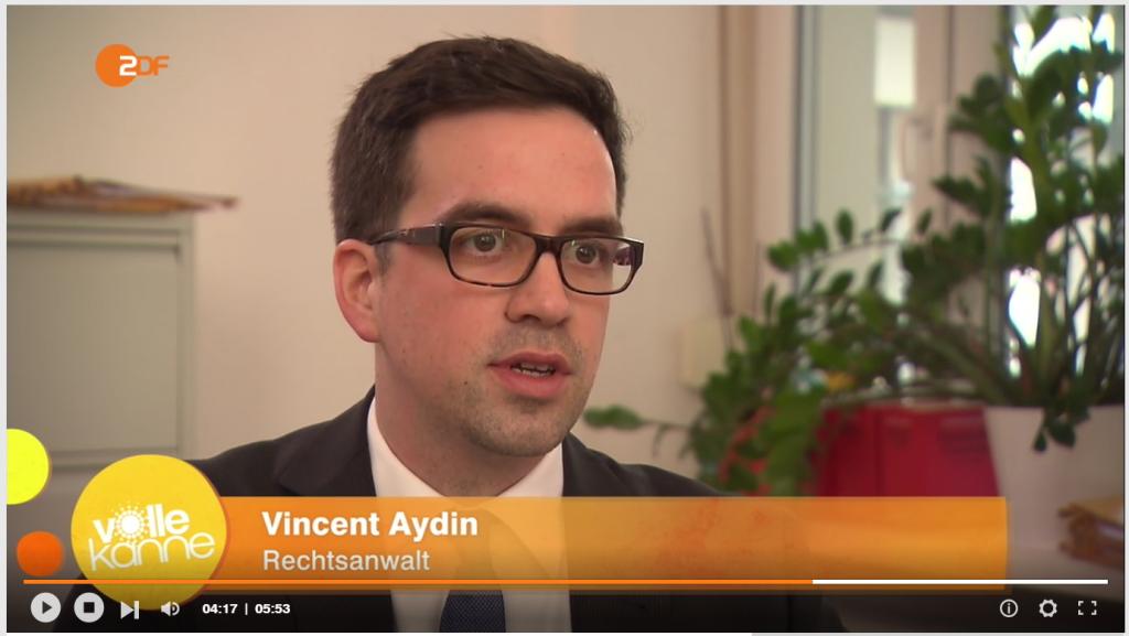 Rechtsanwalt Vincent Aydin im ZDF